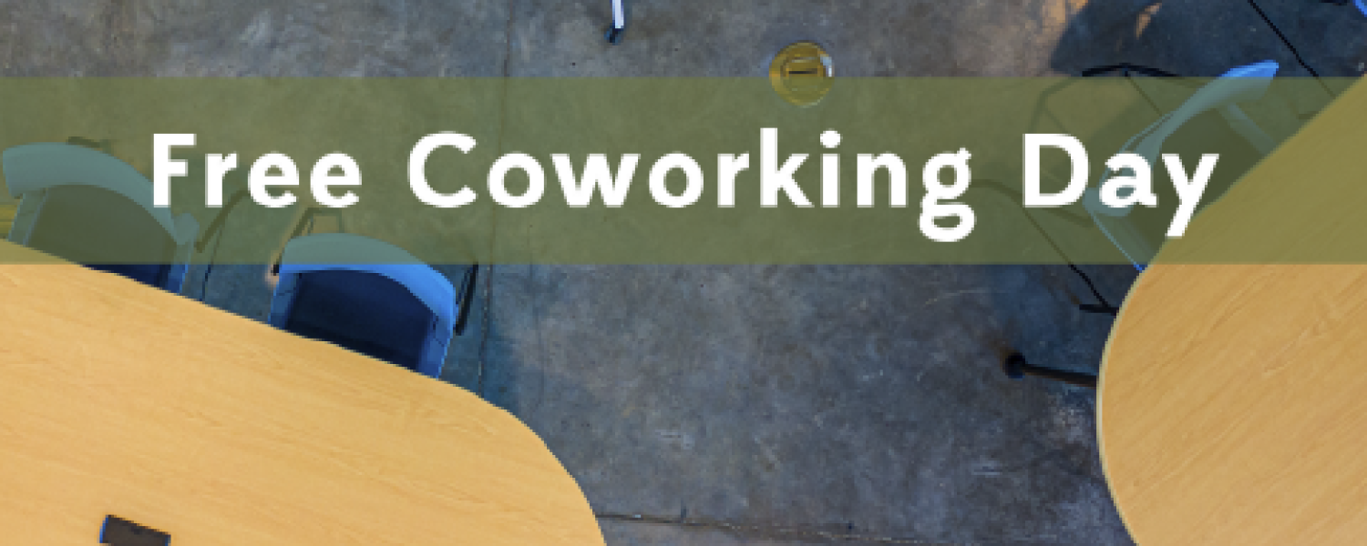 Photo announcing free coworking day at the Entrepreneurs Sandbox on Tuesday, December 17 from 8:00 am to 4:30 pm.