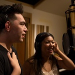 Evan Khay and Faith Rivera recording a track during the 2018 Creative Lab Hawaii Music Immersive program.