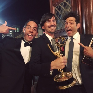 "Jeff Gill (middle), an animator who has worked Comedy Central's South Park, and who along with Evan and Gregg Spiridellis of JibJab, won an Emmy for Netflix children's series, ""Ask the StoryBots;"""