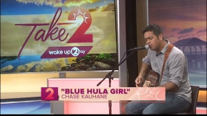 "Photo of singer Chase Kauhane singing his song ""Blue Hula Girl"" on Wake Up 2 Day."